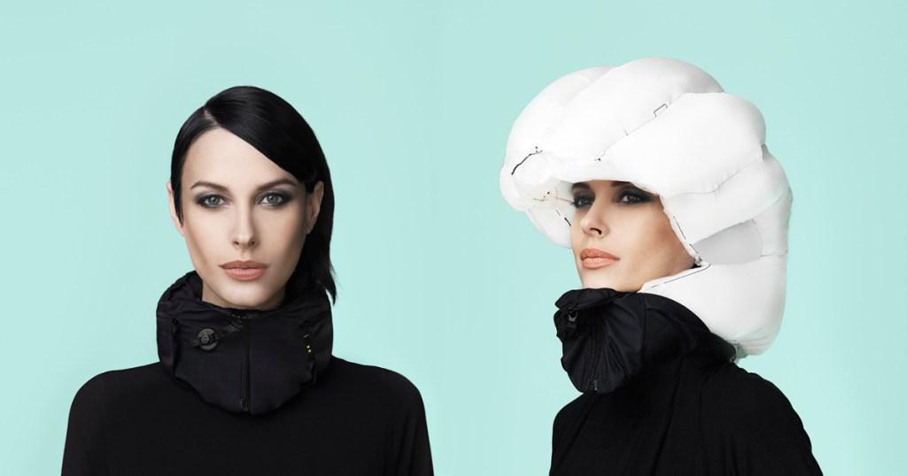 airbag helmet on a woman