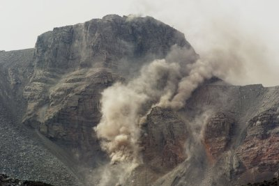 mountain being blown up