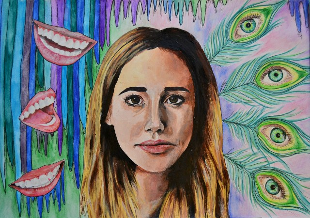 painting of a girl with mouths and eyeballs around her