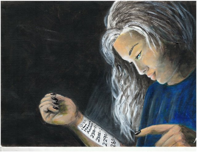 painting of girl scrolling on arm