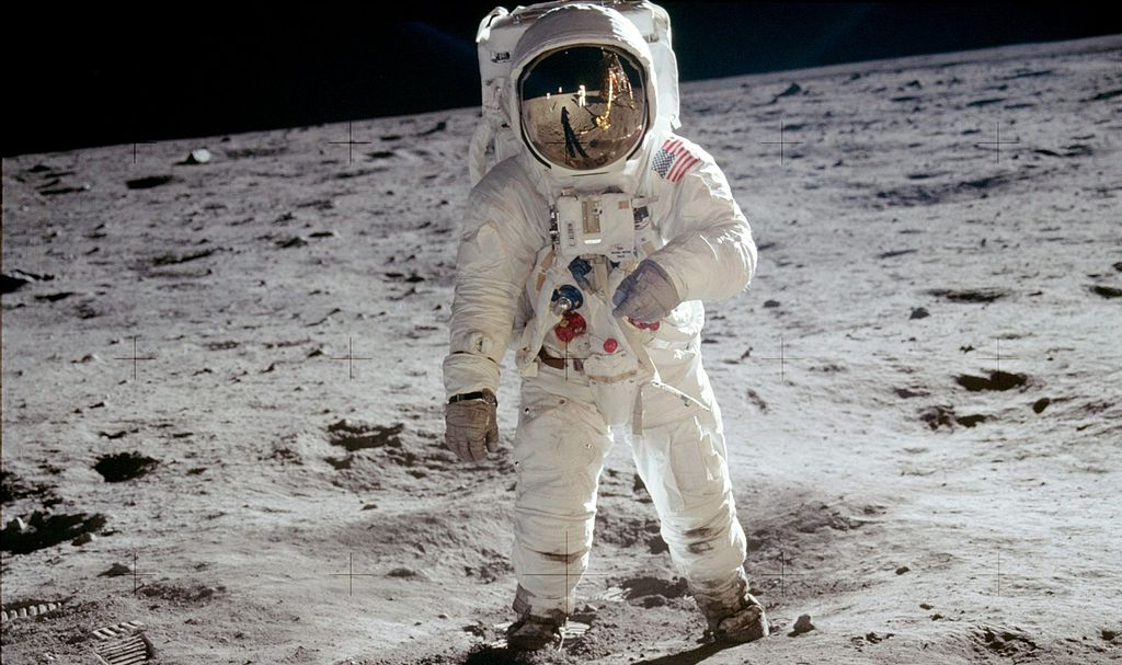 Buzz Aldrin in space suit on moon