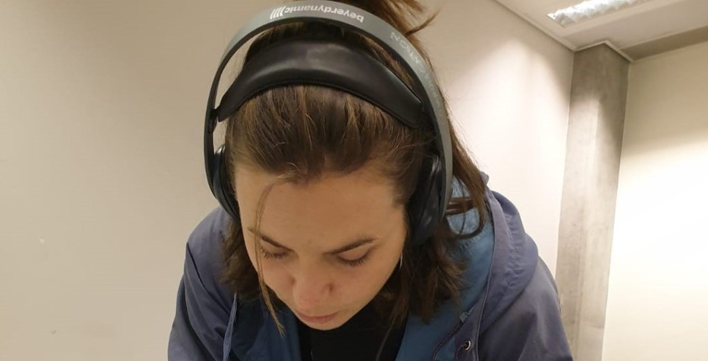 Lydia Melville recording an interview