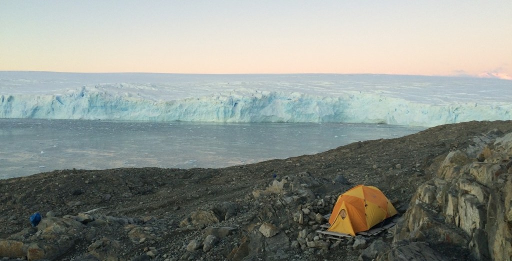 tent surrounded by south pole landscape