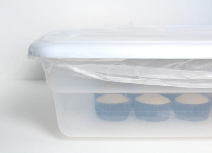 Sealing the container of cupcakes to keep them moist