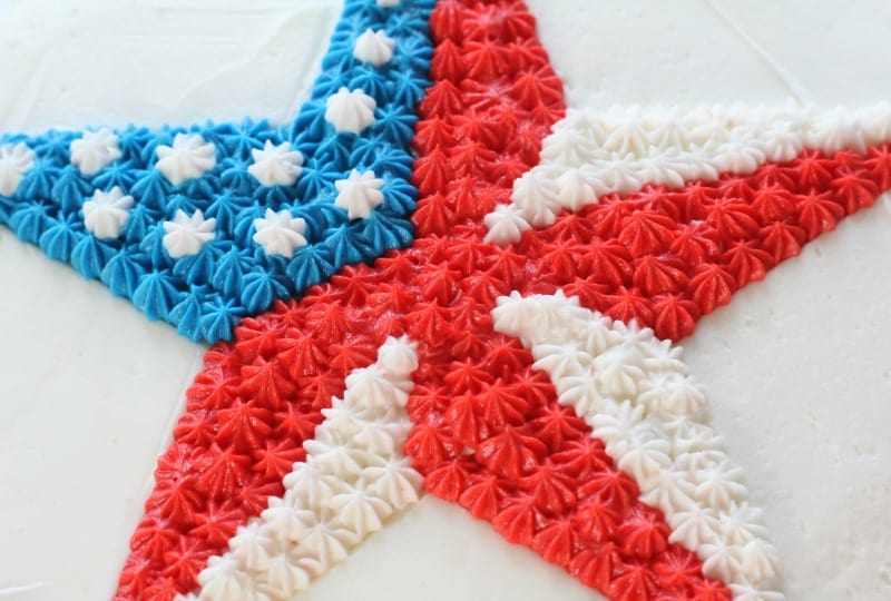 Easy Patriotic Buttercream Star Cake