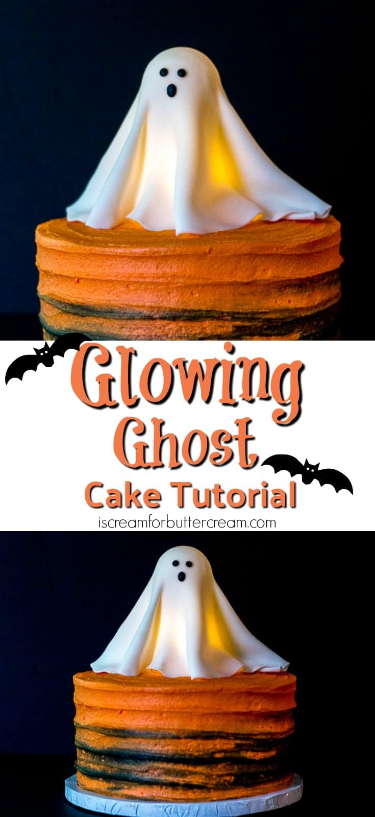 This Halloween, go all out with this Glowing Ghost Cake. It's a real show stopper that looks hard to make, but is surprisingly easy. It's really eye-catching and the kids will love it. And yes, it's really lit from within. #HalloweenCake