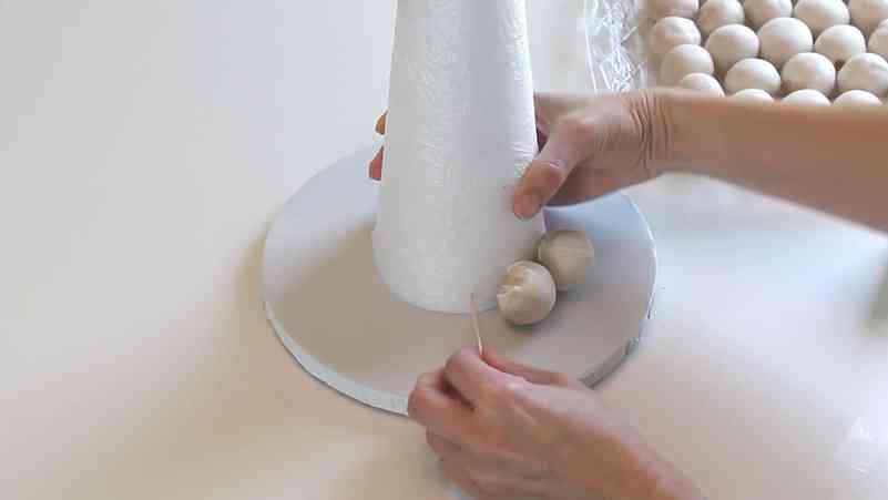 Attaching Cake Balls to Cake Pop Christmas Tree