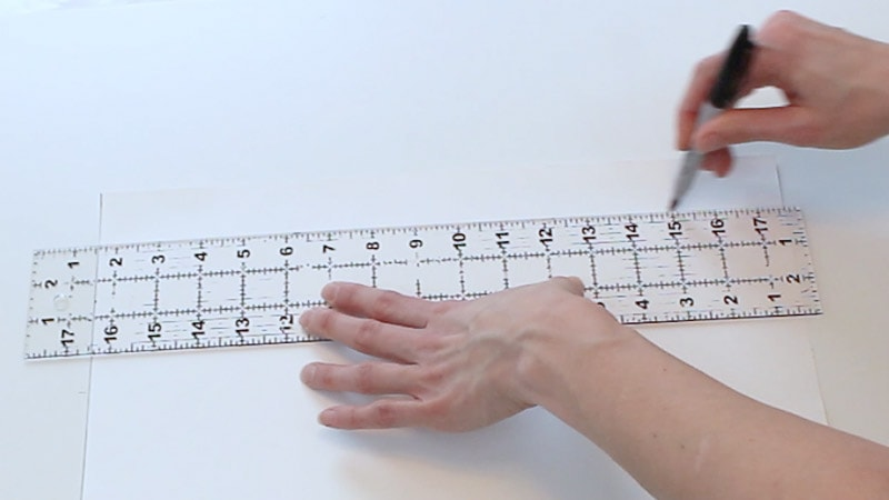 draw a line connecting the measurements on the poster board