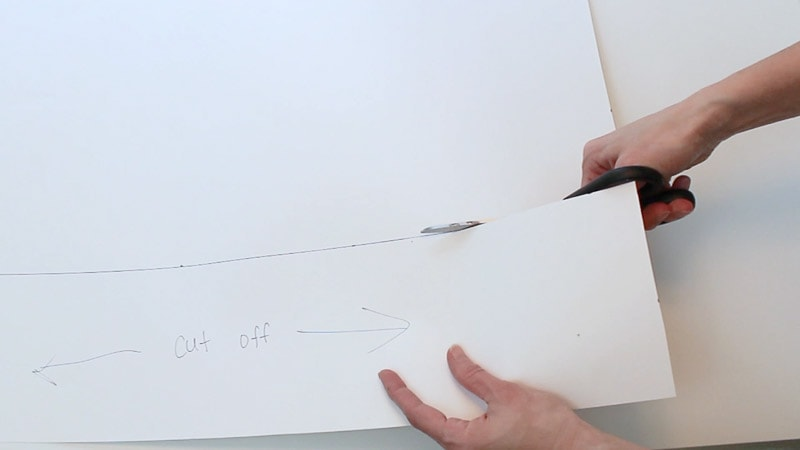 cutting off the side of the poster board