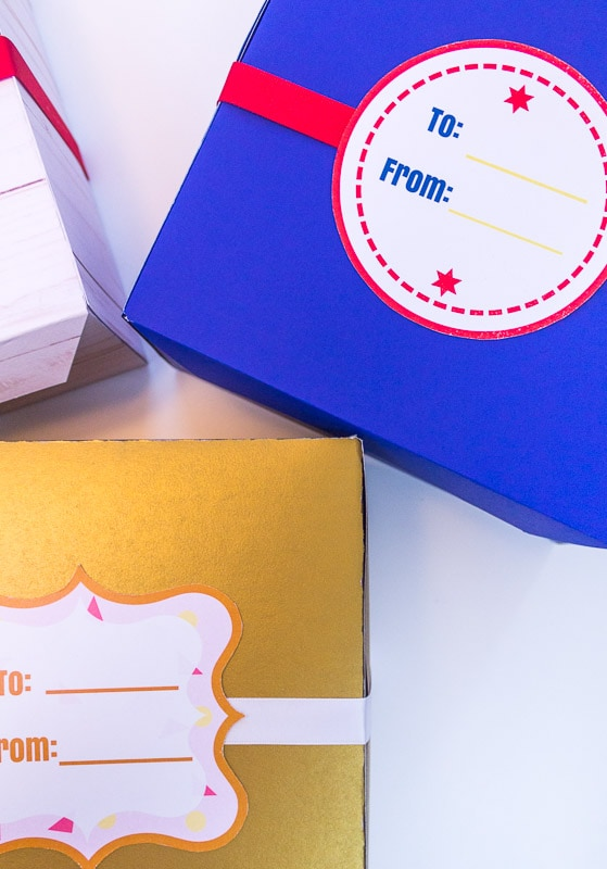 DIY treat boxes with ribbon and labels