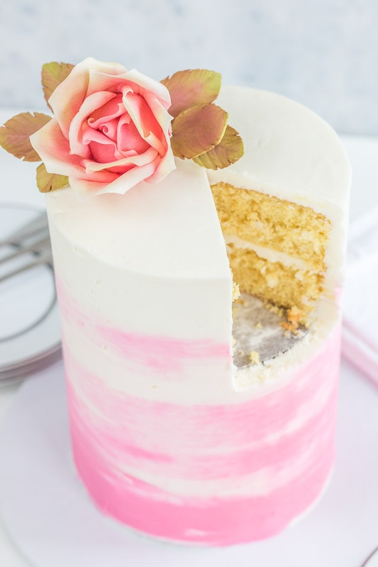 Cut tall cake