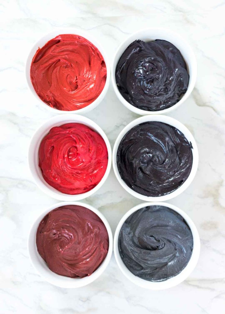 Coloring red and black buttercream