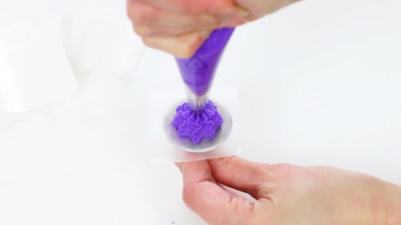 Purple buttercream flowers