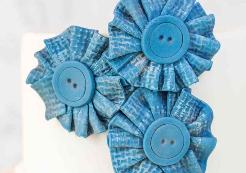 Blue jean look fondant fabric flowers