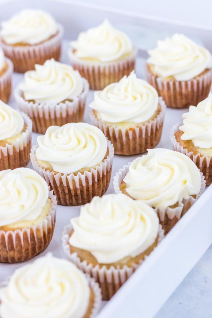 Hummingbird cupcakes on a white tray