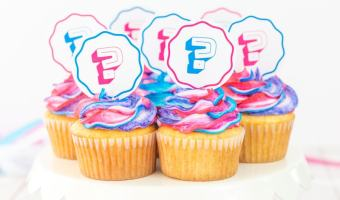 Gender Reveal Cupcakes with Printable Toppers