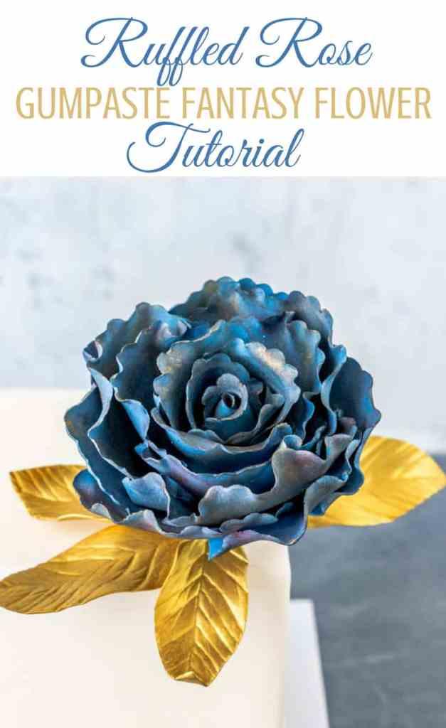 Ruffled Rose Gumpaste Fantasy Flower Pin Graphic