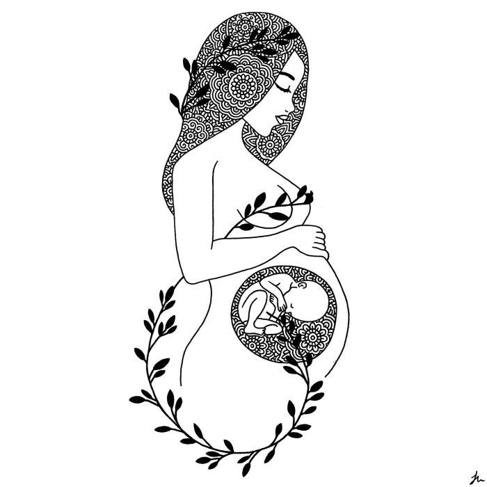 mum and baby art