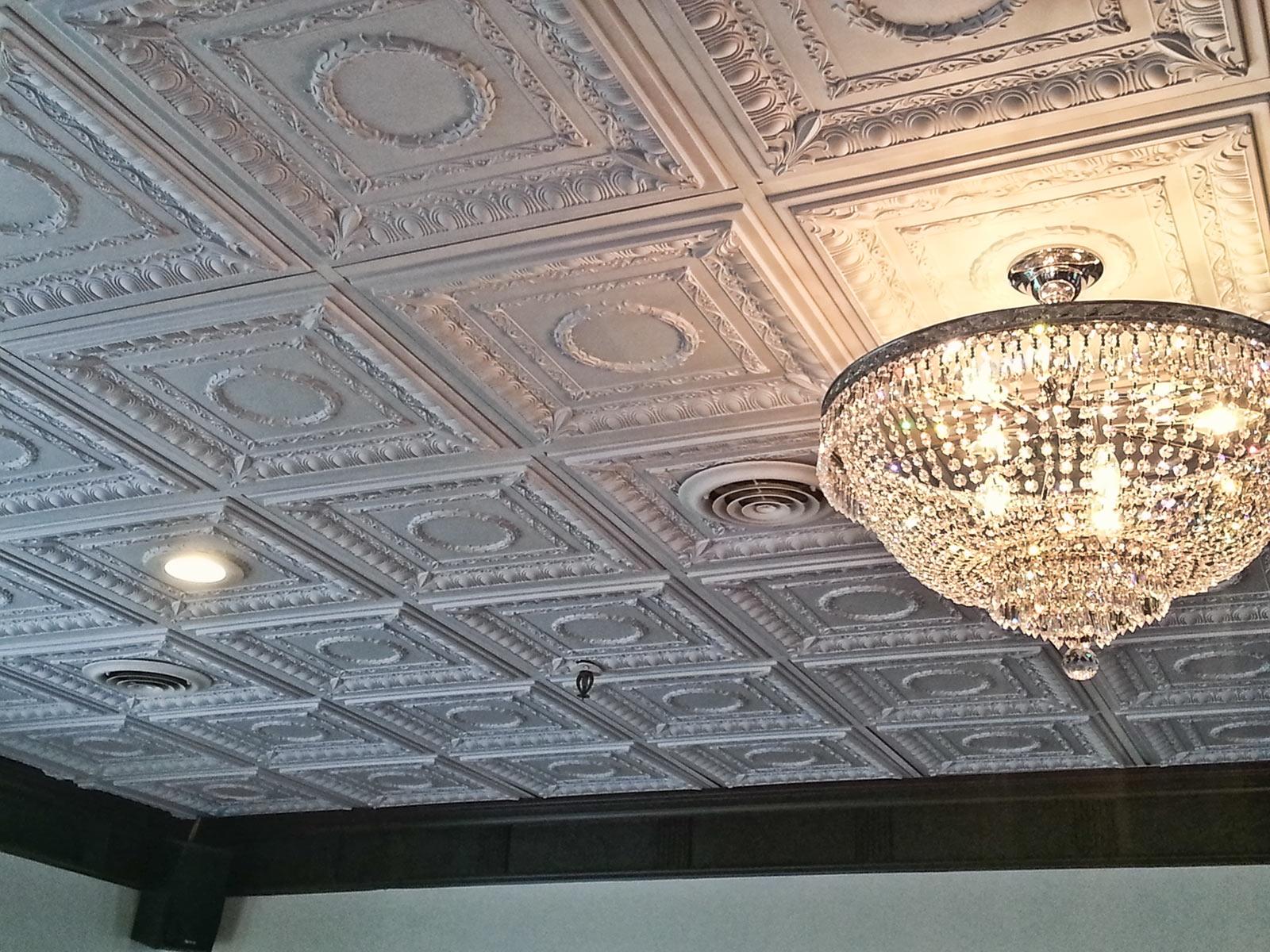 antiqued faux metal ceiling tiles