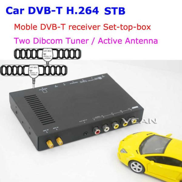 Car DVB-T digital tv receiver 2 antenna tuner TNT TDT 1 -