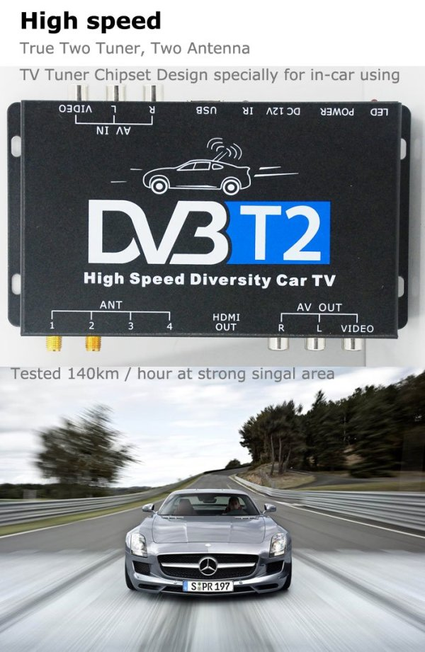 2X2 Two tuner antenna car DVB-T2 Diversity High Speed Russia Thailand 7 -