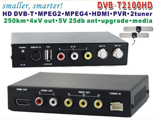 DVB-T2100HD Car DVB-T MPEG4 H.264 tv receiver with 2 tuner PVR USB Record 1 -