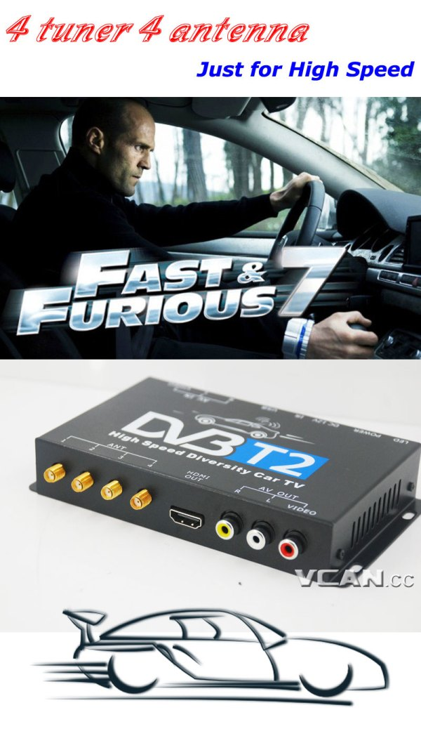 DVB-T24 Car DVB-T2 TV Receiver 4 Tuner 4 Antenna 8 -