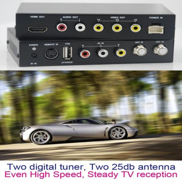 DVB-T2100HD Car DVB-T MPEG4 H.264 2 tuner Digital TV receiver 2 tuner 2 antenna 5 -