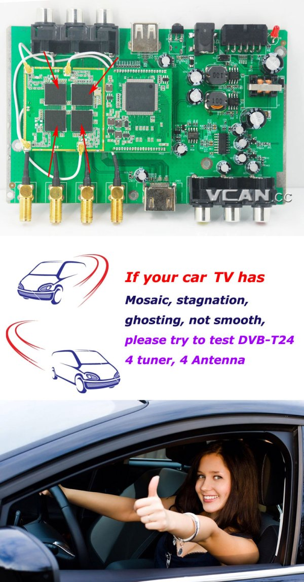 DVB-T24 Car DVB-T2 TV Receiver 4 Tuner 4 Antenna 7 -