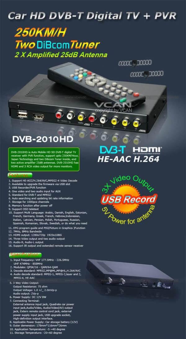 Car DVB-T Receiver MPEG4 H.264 2 tuner 2 diversity antenna Booster Recorder DVBT 5 -