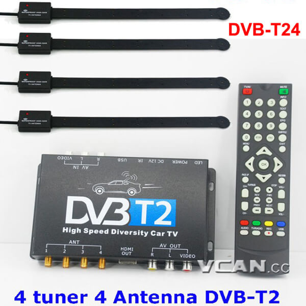 Car DVB-T2 4 Tuner 4 Antenna Digital TV Receiver for High speed auto mobile with USB movie player HDMI out HDTV DVB-T24 1 -