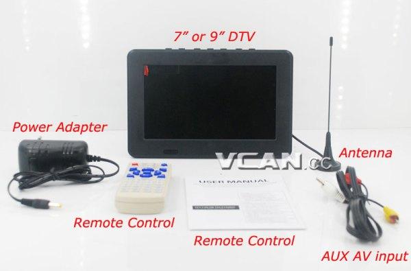 DTV900 DVB-T2 DVB-T ATSC ISDB-T 9 inch Digital TV Analog TV USB TF MP5 player AV in Rechargeable Battery 1 -