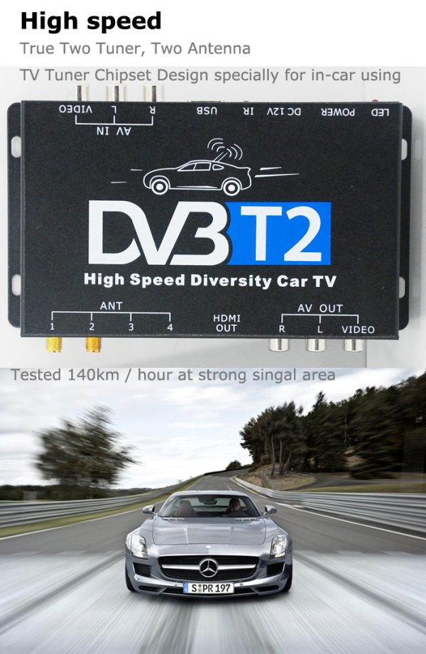 2 antenna car DVB-T2 Two tuner tv Diversity USB HDMI HDTV High Speed dvb-t22 3 -