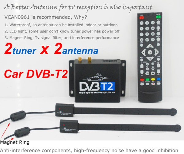 Car DVB-T2 Digital TV receiver two tuner dual antenna  high speed 2 -