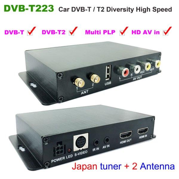 Car DVB-T2 DVB-T Multi PLP Digital TV Receiver 2 Antenna Diversity Dual Aerial H264 MPEG4 HD High Speed FTA STB 1 -