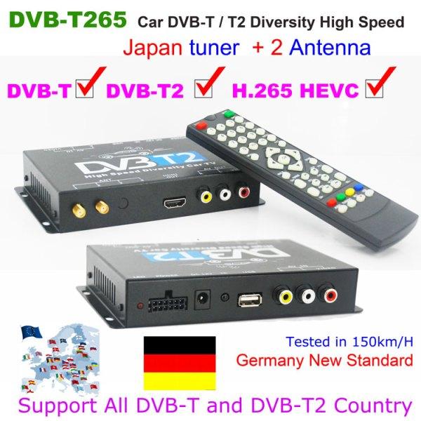Germany DVB-T2 H.265 HEVC Codec New Model DVB-T265 auto mobile digital car dvb-t2 tv receiver 1 -