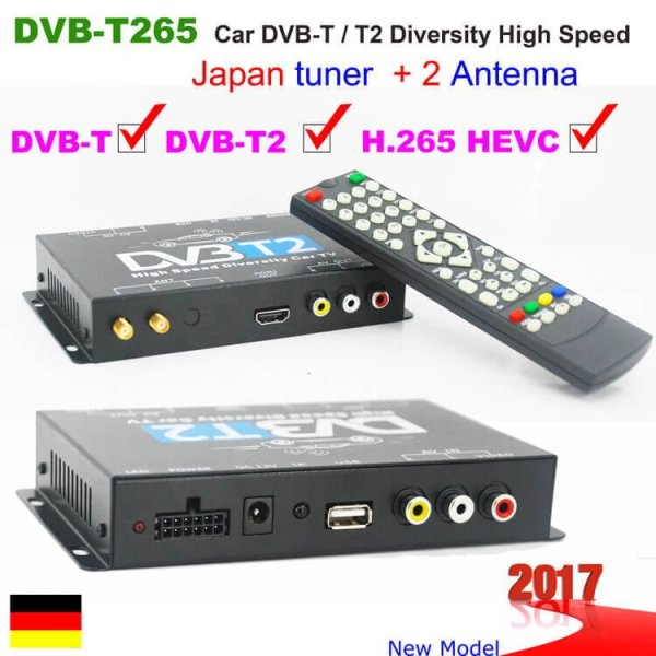 Germany DVB-T2 H265 HEVC 2017 New Model DVB-T265 automobile digital car dvb-t2 tv receiver 1 -