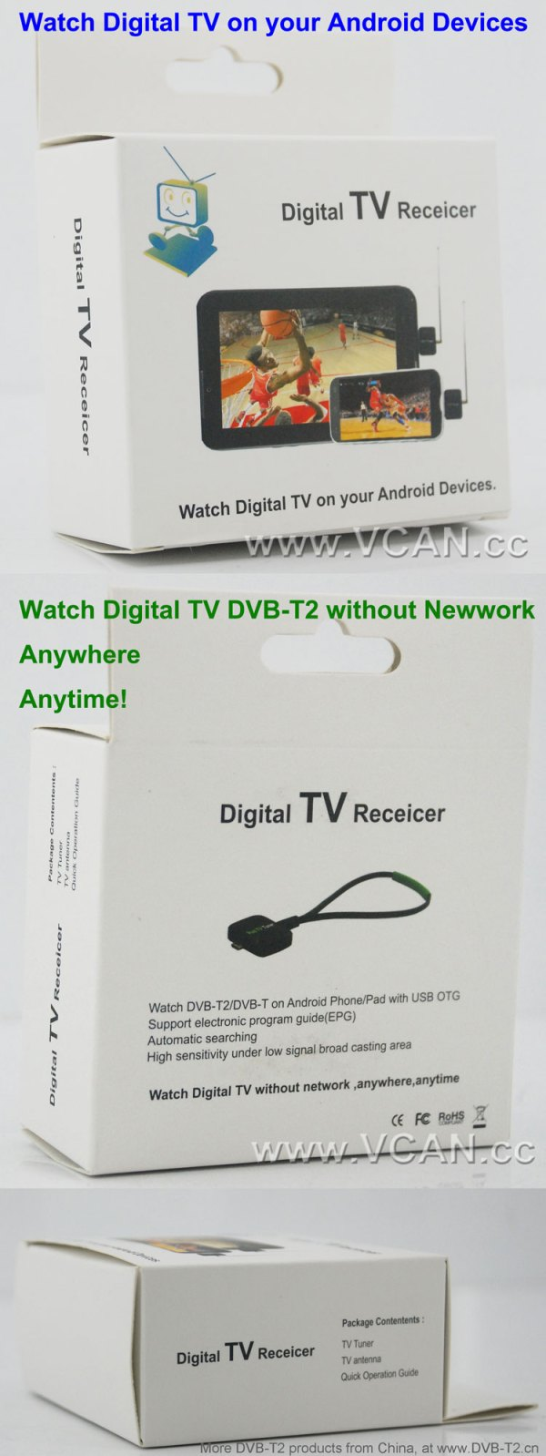 Mobile Phone DVB-T2 TV stick Tuner Receiver Micro USB for android pad digital 4 -