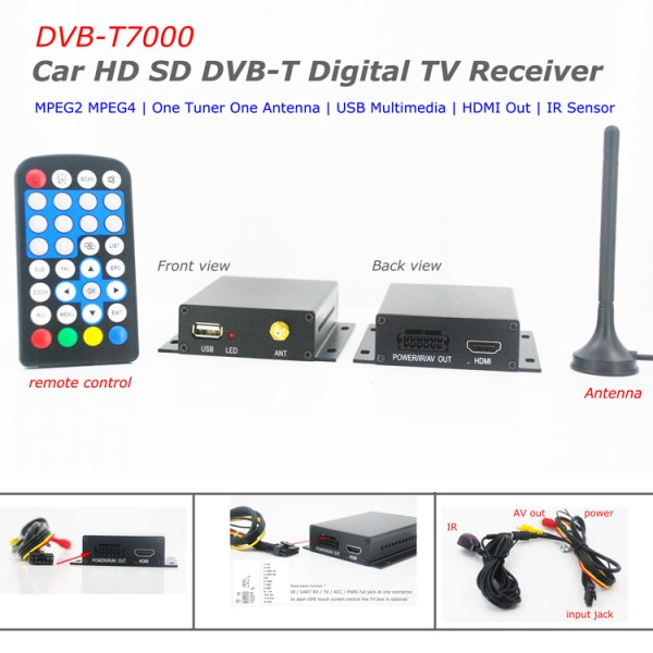 DVB-T7000 one tuner MPEG4 car DVB-T receiver with Supprt maximum car speed 1 -