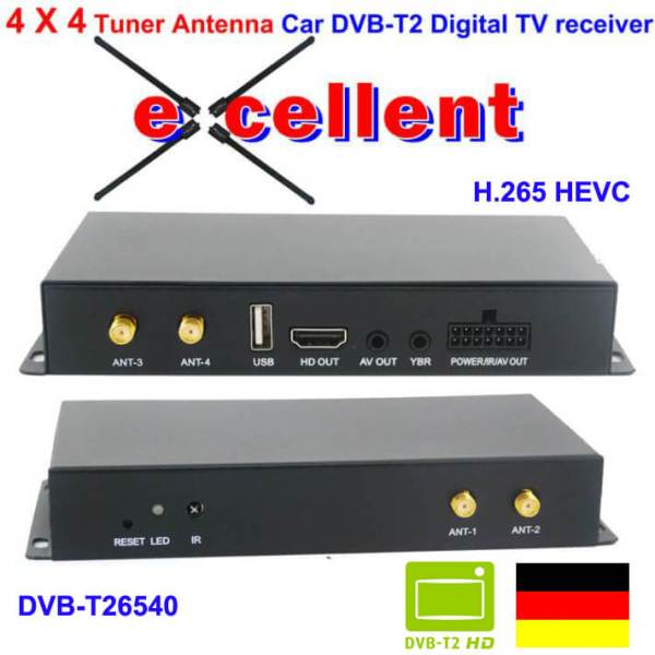 Deutschland Car DVB-T2 H265 4 Tuner 4 Diversity Antenna mobile High Speed digital receiver 1 -