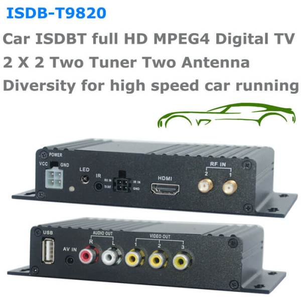 Car ISDB-T Two tuner Two Antenna HD MPEG4 TV receiver for Brazil Peru Chile Costa Rica 6 -