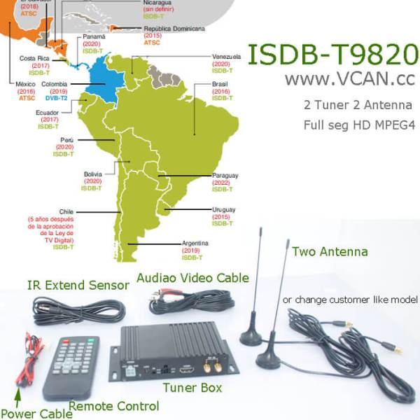 Car ISDB-T Two tuner Two Antenna HD MPEG4 TV receiver for Brazil Peru Chile Costa Rica 5 -