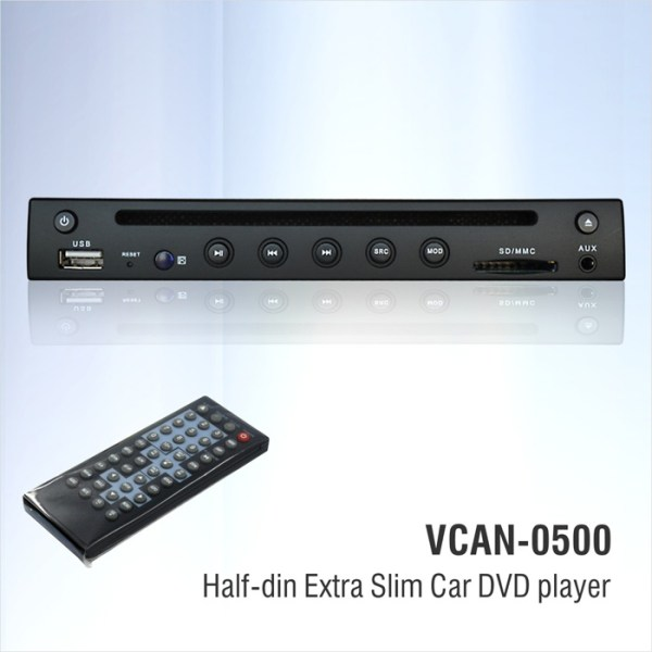 Half Din DVD player Extra Slim for Car use 0.5 Din 1/2 VCAN0500 2 -