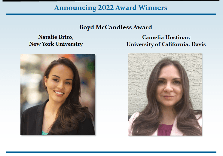 APA Division 7 Names ISDP Board Member Natalie Brito & Camelia Hostinar as the 2022 Boyd McCandless Award Winners for their Distinguished Contributions to Developmental Psychology