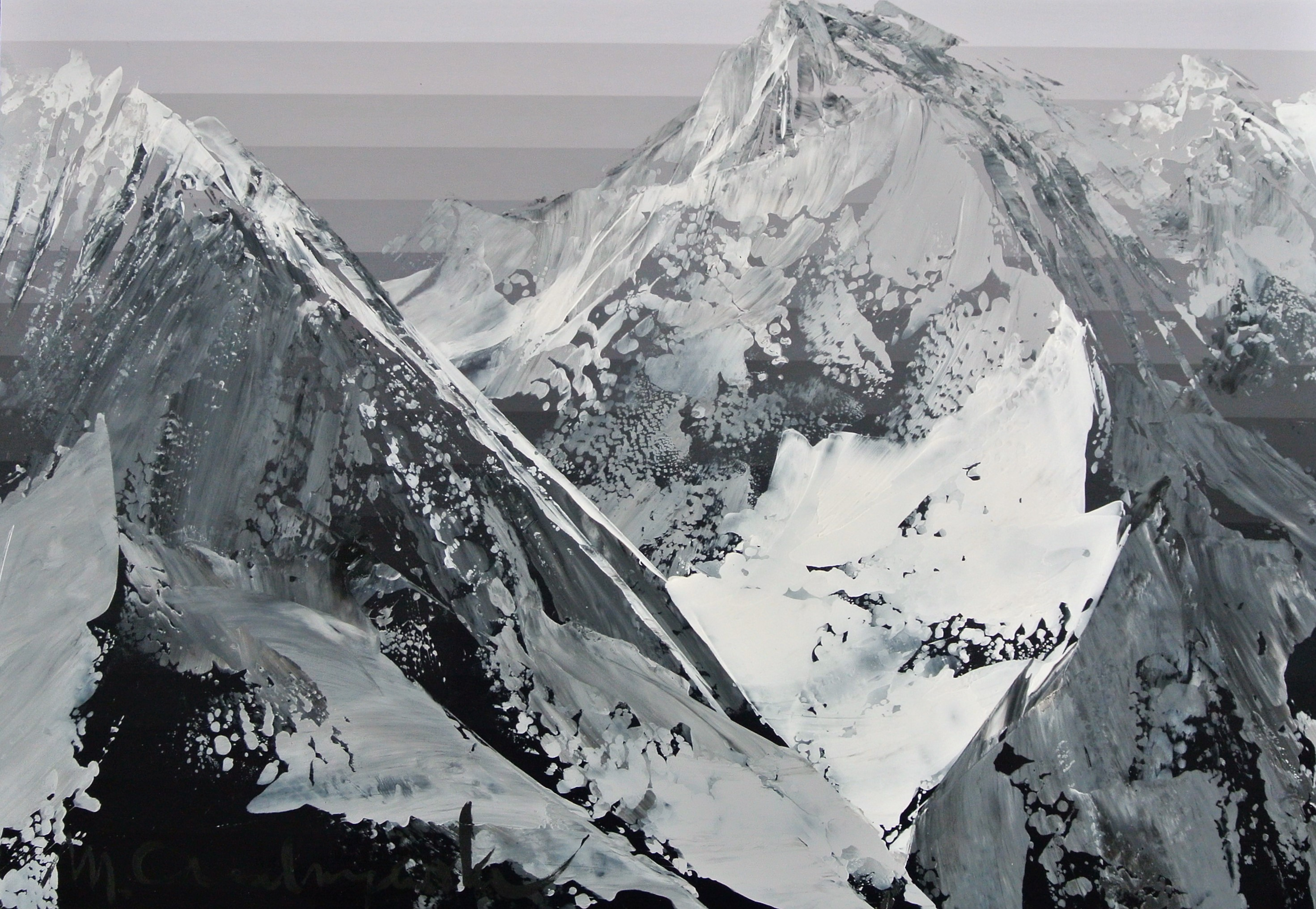 ''Himalaya view'', 20 cm x 30 cm, acryl on the paper