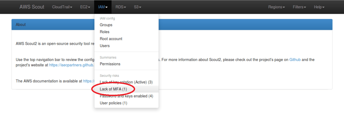 "Screenshot: IAM menu dropdown with a ""Lack of MFA"" security risk"