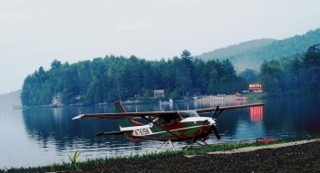 Long Lake seaplane motel dusk