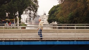 Buenos Aires crossing canal old man