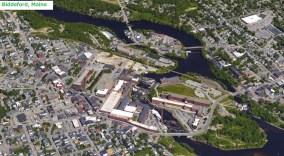 Biddeford Maine red brick mills aerial