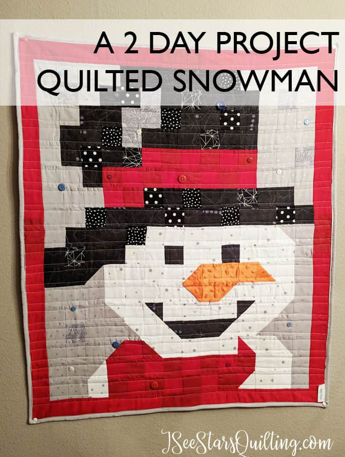 This adorable snowman wall hanging is a super cute quilt pattern that took me only 2 days to make! I used bits and pieces of scrap fabric to make it happen!